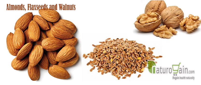 Almonds Flaxseeds and Walnuts